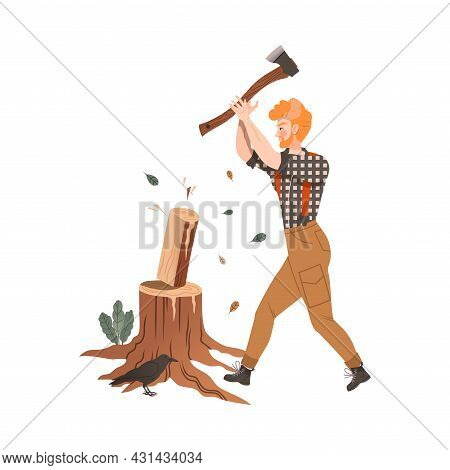 Redhead Bearded Woodman Or Lumberman In Checkered Shirt And Sling Pants Chopping Wood With Ax On Tre