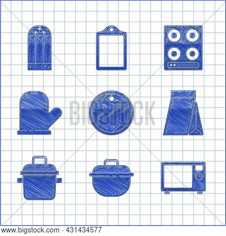 Set Cutting Board, Cooking Pot, Microwave Oven, Bag Of Coffee Beans, Oven Glove, Gas Stove And Salt