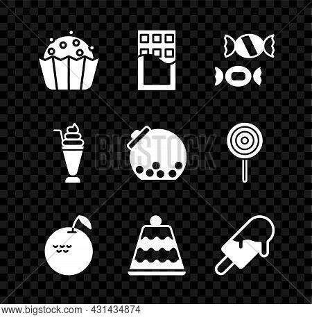 Set Cupcake, Chocolate Bar, Candy, Apple, Cake, Ice Cream, Milkshake And Glass Jar With Candies Insi
