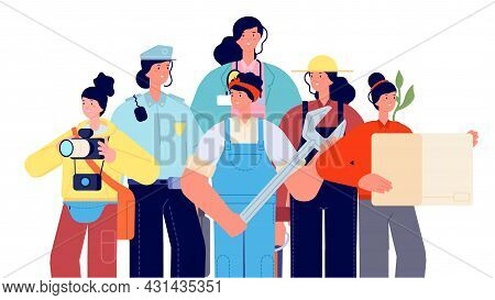 Female Occupations. Women Professional Group, Doctor, Police, Delivery Girl. Cute Cartoon People Por