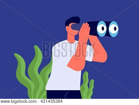 Man Looking In Binocular. Watch Perspectives, Finding Resources Or Loor For Love Or Dream Vector Con