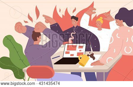 Office Conflict Concept. Expressing Feelings, Business Quarrel. Stress On Work, Negative People In F