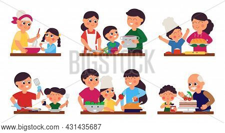 Family Cooking. Food Prepare, Girls On Kitchen. Parents And Children Cook Meals, Sweet Bakery And Di