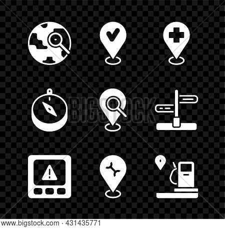 Set Magnifying Glass With Globe, Location Check Mark, Medical Location Cross, Gps Device Error, Car