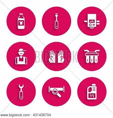 Set Rubber Gloves, Industry Metallic Pipe, Drain Cleaner Bottle, Water Filter, Wrench Spanner, Plumb