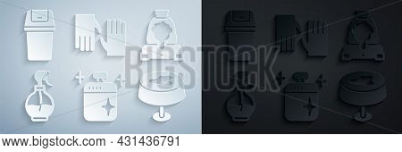 Set Clean Cooking Pot, Cleaning Lady Service, Water Spray Bottle, Stain On The Tablecloth, Rubber Gl