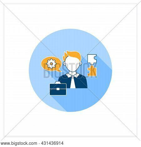 Ineffective Communication Flat Icon. Using Technical Language. Professional Vocabulary. Communicatio