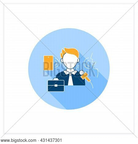 Verbal Communication Flat Icon. Share Information To People. Motivation Speech.job Interview, Dialog