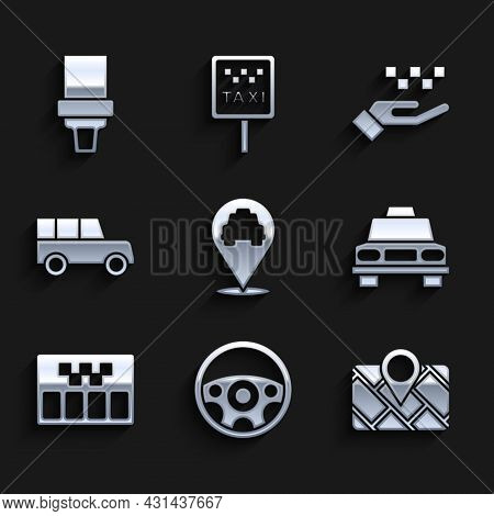 Set Location With Taxi, Steering Wheel, Gps Device Map, Taxi Car, Taximeter, Car, Hand And Safety Be