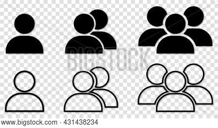 People Black Vector Icons. Vector Illustration Isolated On Transparent Background