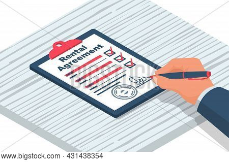 Rental Agreement. Real Estate Contract. Human Signs A Document. Rental And Selling Real Estate. Vect
