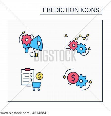 Predictive Analytics Color Icons Set. Price Optimization, Merchandise Planning, Improving Operations