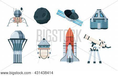 Exploring Planets. Science Astronomy Planetarium Telescope Planets Cosmos Shuttle Garish Vector Illu