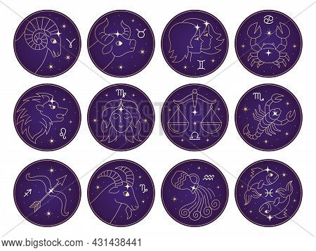 Horoscope Characters. Zodiac Signs Scorpio Cancer Scales The Bull The Archer Astrology Gemini Leo Re
