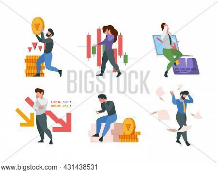Financial Collapse. Business Fail Market Crisis Company Loss Money Office Bankruptcy Garish Vector F