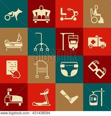 Set Iv Bag, Eyeglasses, Emergency Car, Electric Wheelchair, Walking Stick Cane, Patient With Broken