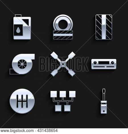 Set Wheel Wrench, Gear Shifter, Screwdriver, Car Audio, Automotive Turbocharger, Tire Wheel And Cani