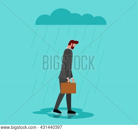 Unhappy Depressed Loneliness Sad Man In Stress With Negative Emotion Problem Walking Under Rain Clou