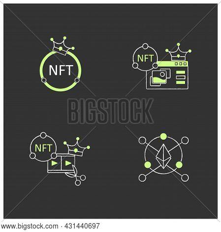 Nft Chalk Icons Set. Ethereum Blockchain. Video Clips. Non Fungible Tokens Supermarket.unique Digita