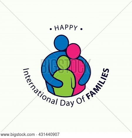 Colorful Word Of International Day Of Families With Abstract People Shape Love. Design Letter Intern