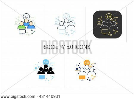 Society 5.0 Icons Set.human-centered Association.super-smart Society.sustainable, Inclusive System.c