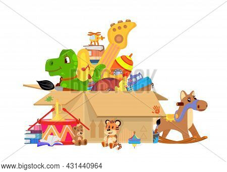 Kids Toys Box. Toy Donates, Giant Cardboard Packing With Plastic Car, Books And Doll. Children Donat