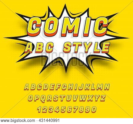 Fun Comic Alphabet. Cartoon Letters Numbers, Super Hero Style Typography Elements. Comics Book Cover