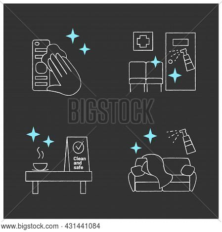 Surface Disinfection Chalk Icons Set. Tv Remote, Couch, Clinic And Cafe Disinfection. Safety Space A