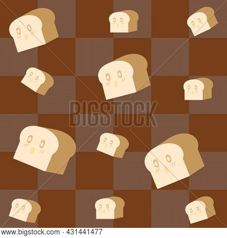 Seamless Pattern. Cute Cartoon Loaf Of Bread On A Dark Brown Checkered Background. For Making Apron,