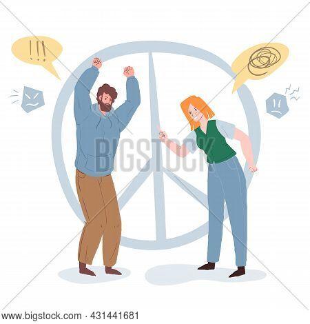 Vector Cartoon Flat Pair Of Characters Quarreling, Arguing In Break Up Scene.healthy Personal Relati