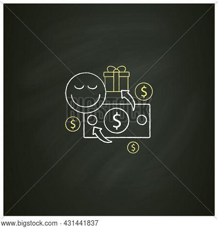 Unconditional Payment Chalk Icon. Mandatory Contribution. Profitable Investment. Universal Basic Inc