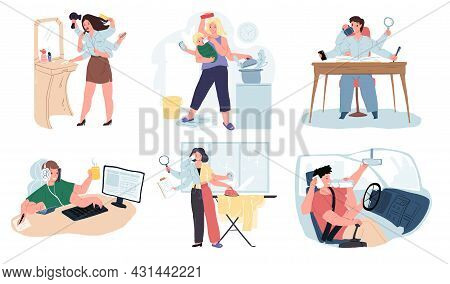 Set Of Vector Cartoon Characters With Many Hands, Multitasking Metaphor.various People Who Manage Ev