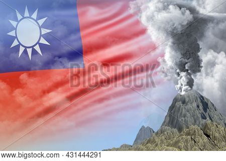 Volcano Eruption At Day Time With White Smoke On Taiwan Province Of China Flag Background, Suffer Fr