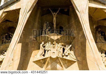Barcelona, Spain, September 20, 2019. The Sagrada Familia, Is A Huge Roman Catholic Basilica In Barc