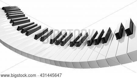 Bend Piano Or Keyboard Keys Wave Or Curve Isolated On White Background, 3d Illustration