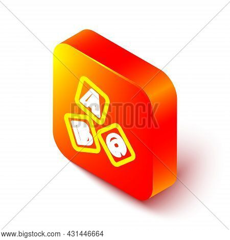 Isometric Line Abc Blocks Icon Isolated On White Background. Alphabet Cubes With Letters A, B, C. Or