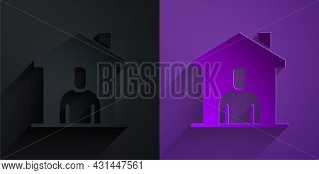 Paper Cut Shelter For Homeless Icon Isolated On Black On Purple Background. Emergency Housing, Tempo