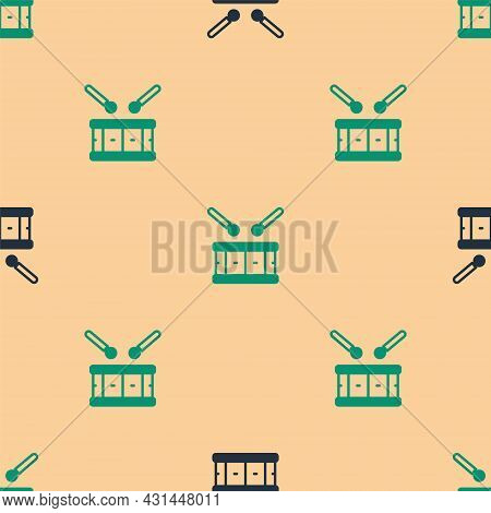 Green And Black Drum With Drum Sticks Icon Isolated Seamless Pattern On Beige Background. Music Sign