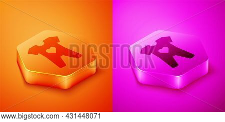 Isometric Baby Clothes Icon Isolated On Orange And Pink Background. Baby Clothing For Baby Girl And