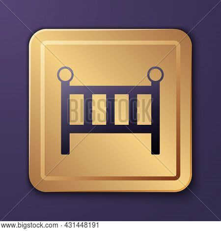 Purple Baby Crib Cradle Bed Icon Isolated On Purple Background. Gold Square Button. Vector