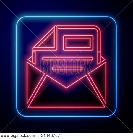 Glowing Neon Mail And E-mail Icon Isolated On Black Background. Envelope Symbol E-mail. Email Messag