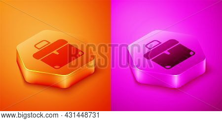 Isometric Briefcase Icon Isolated On Orange And Pink Background. Business Case Sign. Business Portfo