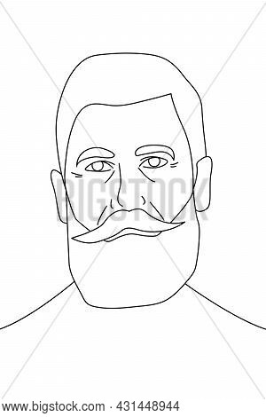 Portrait Of An Old Man With A Beard And Mustache In The Style Of Line Art On A White Background. Gra