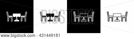 Set French Cafe Icon Isolated On Black And White Background. Street Cafe. Table And Chairs. Vector