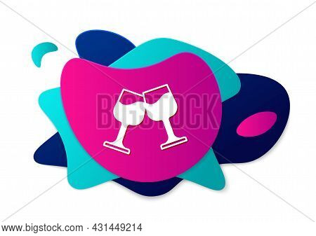 Color Wine Glass Icon Isolated On White Background. Wineglass Sign. Abstract Banner With Liquid Shap