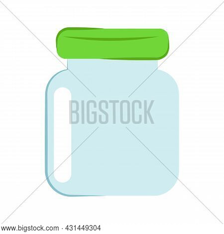 Glass Jar Isolated On White Background. Vector Flat Illustration. Empty Transparent Glass Jar With S