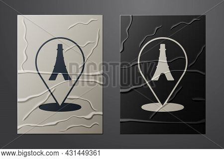 White Eiffel Tower Icon Isolated On Crumpled Paper Background. France Paris Landmark Symbol. Paper A