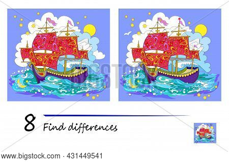 Find 8 Differences. Illustration Of Fairyland Old Celtic Sailboat. Logic Puzzle Game For Children An