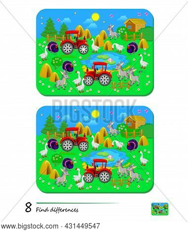 Find 8 Differences. Illustration Of Cute Farm With Domestic Animals. Logic Puzzle Game For Children