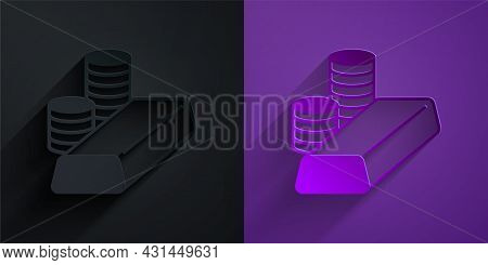 Paper Cut Gold Coin With Gold Bars Icon Isolated On Black On Purple Background. Banking Currency Sig